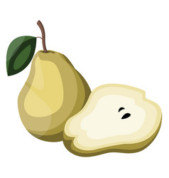 cartoon of a yellow pear fruit with green leaf vector image