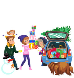 cartoon smiling family carrying bunch presents vector image