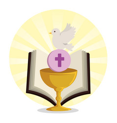 Chalice with holy host and bible with dove vector