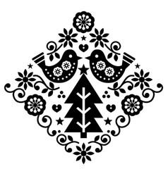 Christmas scandinavian folk art pattern vector
