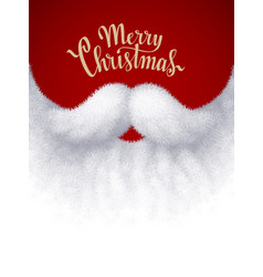 Closeup white santa beard with merry christmas vector