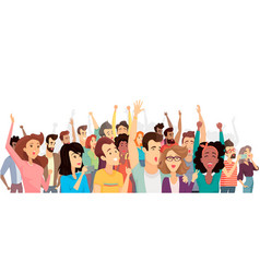 crowd happy people poster vector image