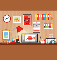 Designer workplace composition vector