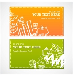 Doodle business cards set vector