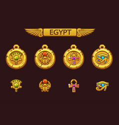 Egyptian talismans with scarab eye flower vector