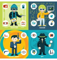 Espionage and Criminal Activity Graphics vector image