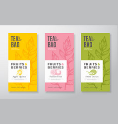 Exotic fruits tea labels set packaging vector