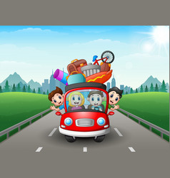 Family traveling in the car vector