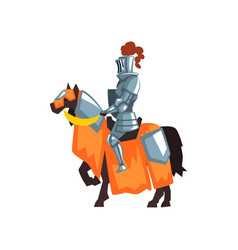Flat icon of medieval knight on horseback vector