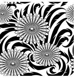 Flowers seamless pattern black and white vector