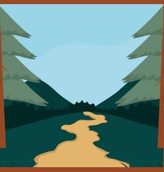 Forest landscape cartoon vector