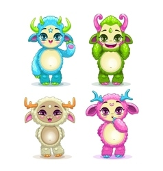 Funny cartoon fluffy bamonsters set vector