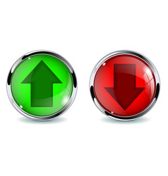 glass 3d buttons up and down vector image