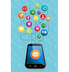Global social media mobility vector image vector image