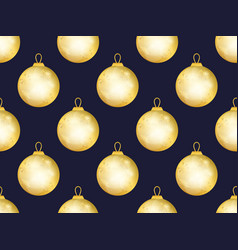 gold christmas balls seamless pattern bokeh vector image