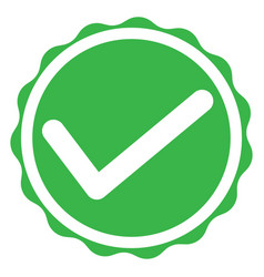 green tick mark icon on white background green vector image