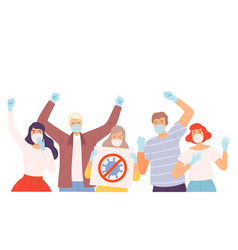 group people wearing protective medical face vector image