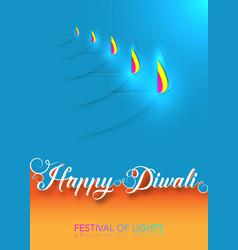 happy diwali celebration paper cut style graphic vector image