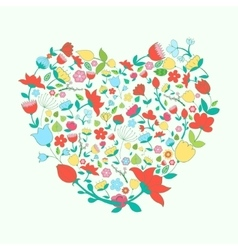 Heart and flowers vivid color vector