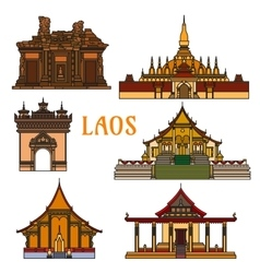 Historic landmarks and sightseeings of Laos vector