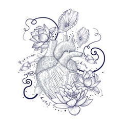 human flora heart hipster tattoo love wild heart vector image