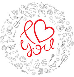 i love you background with icons for valentines vector image
