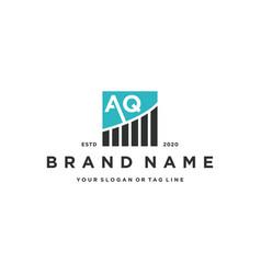 Letter aq chart financial logo design vector