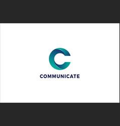 Letter c 3d blue colour creative business logo vector