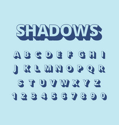 letters long shadows alphabet with letters and vector image