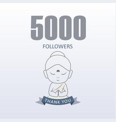 Little monk showing gratitude for 5000 followers vector