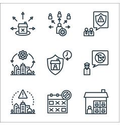 Lockdown line icons linear set quality line set vector