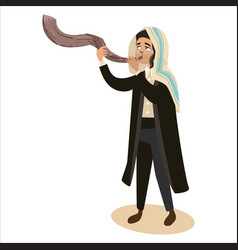 Man blowing shofar horn for the jewish new year vector