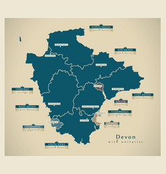Modern map - devon county with unitaries and vector