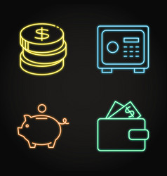 money icon set in neon line style vector image