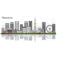 Nagoya japan city skyline with gray buildings and vector