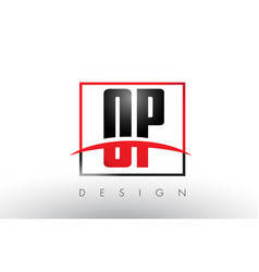 Op o p logo letters with red and black colors and vector