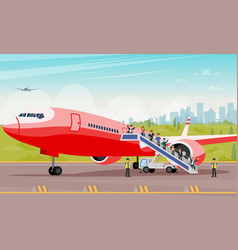 passengers crawl out ladder flat vector image