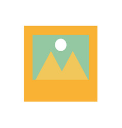 Photographs with mountains and sun icon imag vector