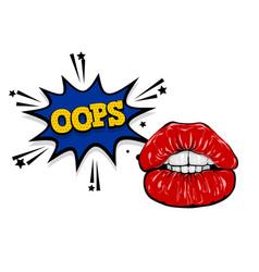 pop art woman cartoon sexy glossy lips vector image