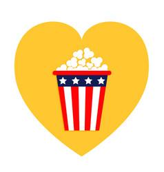 Popcorn icon heart shape i love movie cinema icon vector