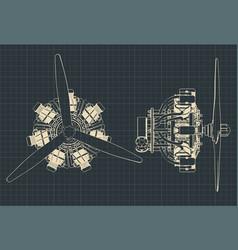Radial engine blueprints vector