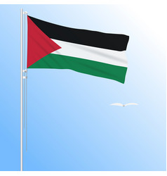 Realistic flag of palestine fluttering in the wind vector