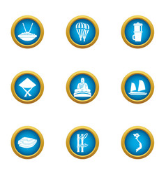 Relaxed life icons set flat style vector