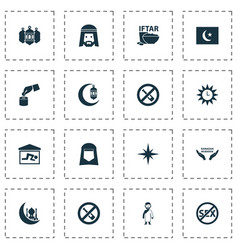 Religion icons set with qiblah worship no vector