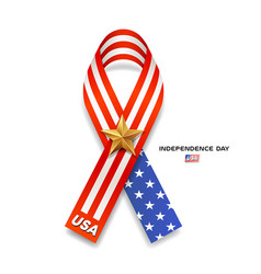 ribbons flag america gold star independence day vector image