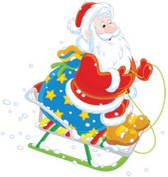 Santa sledding with gifts vector