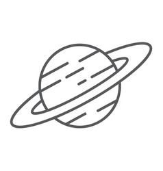 saturn thin line icon astronomy and space planet vector image