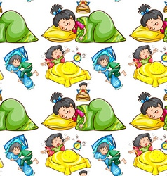 Seamless background with kids sleeping vector image