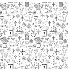 seamless pattern with easter doodle sketches on vector image