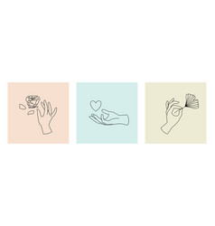 Set female hand logos icons in minimal linear vector